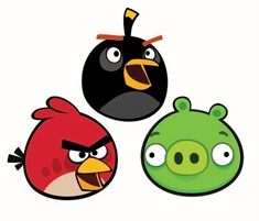 Wall sticker - Angry Birds - 3 stk - 25x26,5 - 3D effekt
