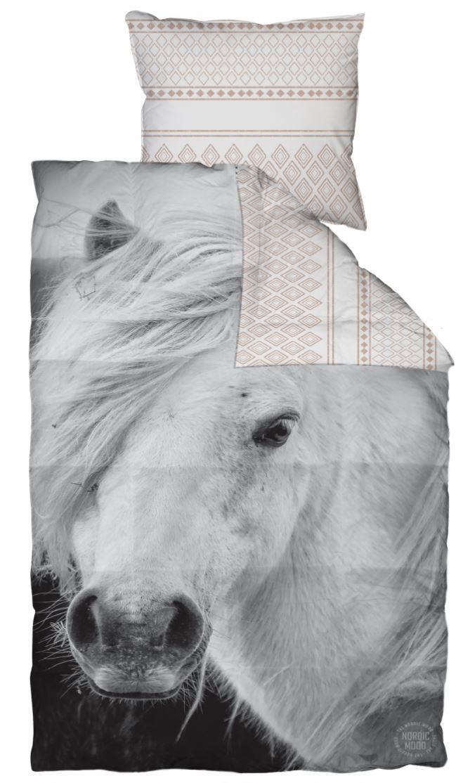 Forskellige Junior sengetøj med heste motiv 100x140 cm - 100% Bomuldssatin LZ64