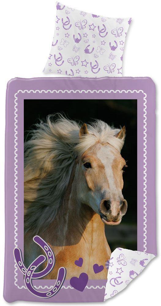 sengetøj med heste Heste sengetøj med hjerter og hestesko140x200 cm sengetøj med heste