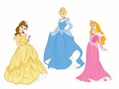 Wall sticker - Prinsesser - 3 stk - Disney - 3D effekt