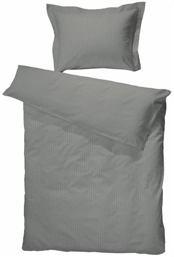 Egyptisk bomuld - 200x220 cm - Lysgrå turistrib - Sengetøj til dobbeltdyne