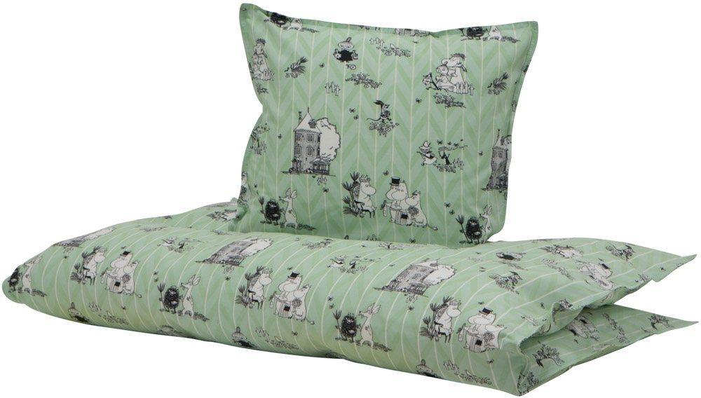 Moderne Junior sengetøj - 100% Økologisk bomuld - Mumitroldene grøn TM73